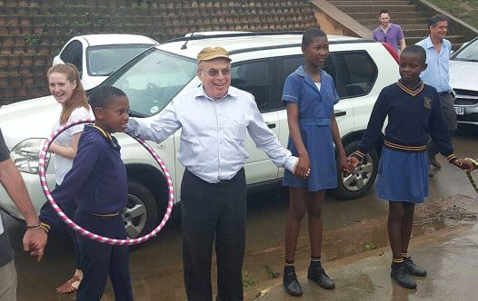 JEWISH AGENCY Chairman Natan Sharansky dances with children at the opening of the Project TEN Center in Durban last week