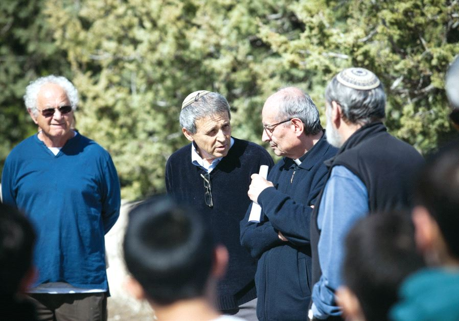 Gadi Gvaryahu (center left) in a Tag Meir activity at Beit Jamal Monastery. Credit: Yossi Zamir
