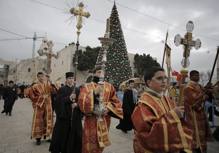 Members of the Greek Orthodox clergy before the Eastern Orthodox Christmas in Bethlehem. (Reuters)
