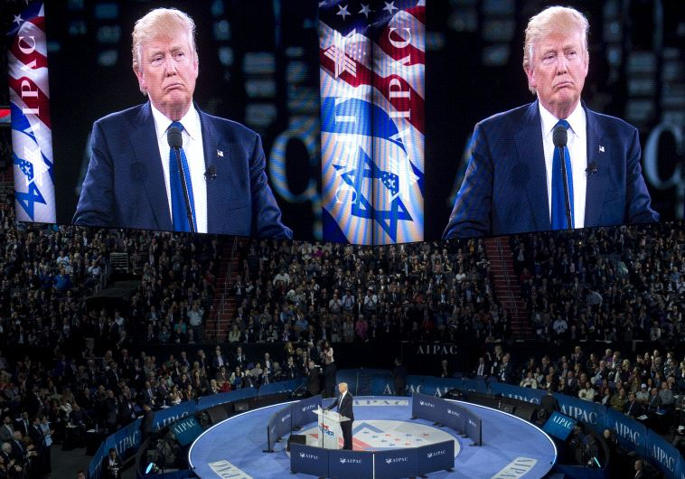 Donald Trump addresses the American Israel Public Affairs Committee (AIPAC) 2016 Policy Conference as US Republican presidential candidate (SAUL LOEB / AFP)