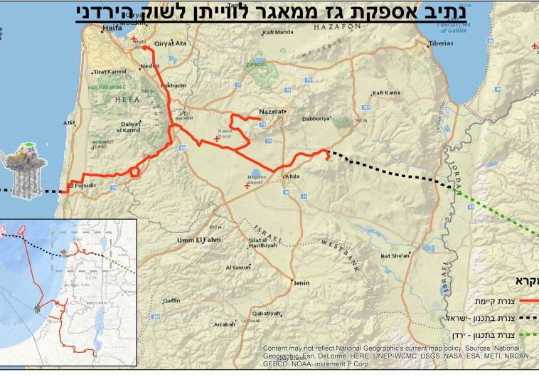 Map showing planned pipelines running from Israel's Levianthan natural gas rig into Jordan