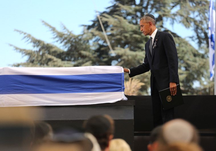 US President Barack Obama paying respects to the late Shimon Peres. Credit: Emil Salman/Pool