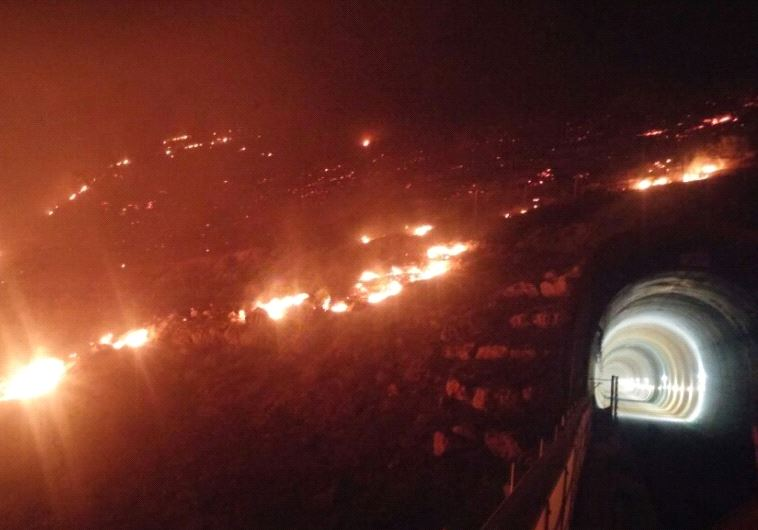 Fires near a railway tunnel under construction near Canada Park near Modi'in (ZION BITON/KKL)