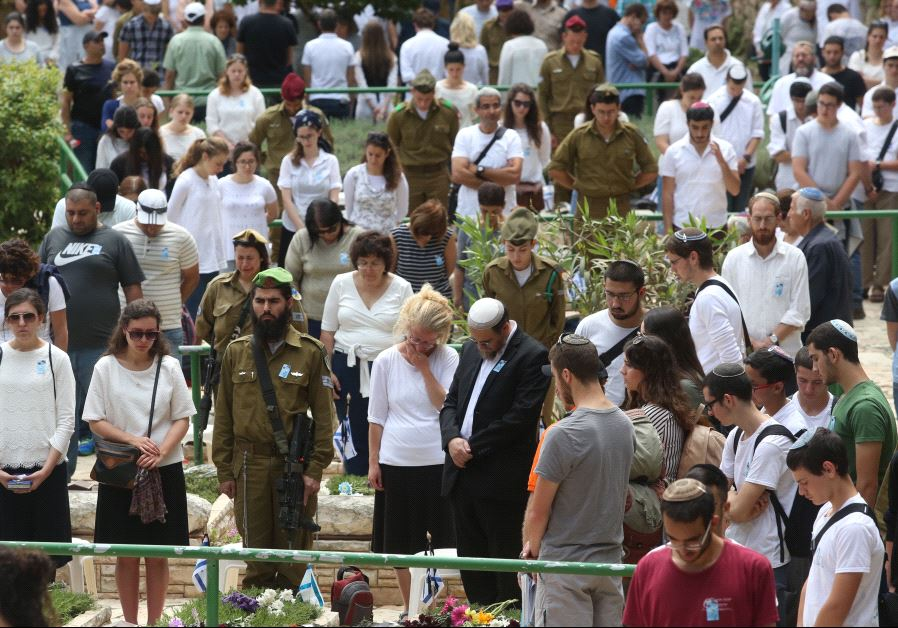 Crowds at the official Memorial Day State Ceremony at Mt. Herzl Cemetery in Jerusalem (MARC ISRAEL SELLEM)‏