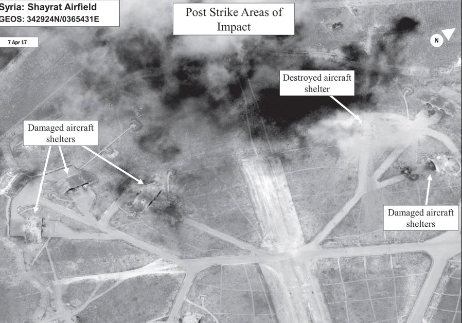 A battle damage assessment image of Shayrat airfield. Credit: DIGITALGLOBE / US DEPARTMENT OF DEFENSE / REUTERS