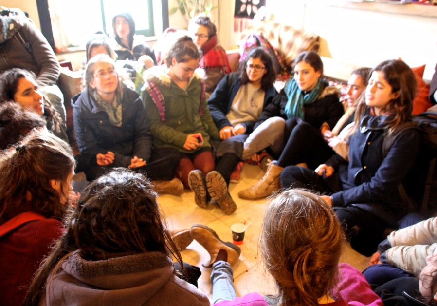Young female activists on the floor of the Nizri home on the day of Amona evacuation. Photo by: Tovah Lazaroff