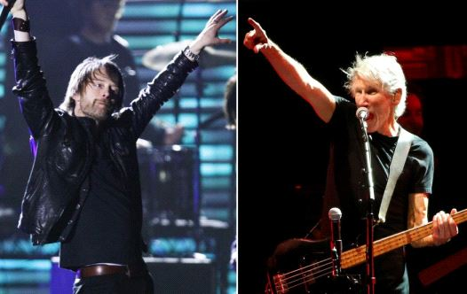 Radiohead frontman Thom Yorke (L) and Pink Floyd's Roger Waters (Reuters)