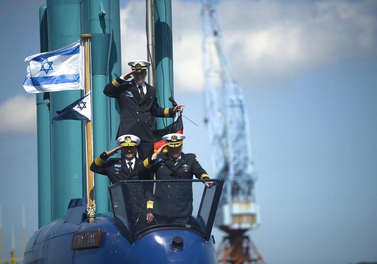 An Israeli submarine en route to the navy's Haifa base from Germany (IDF SPOKESMAN'S OFFICE)