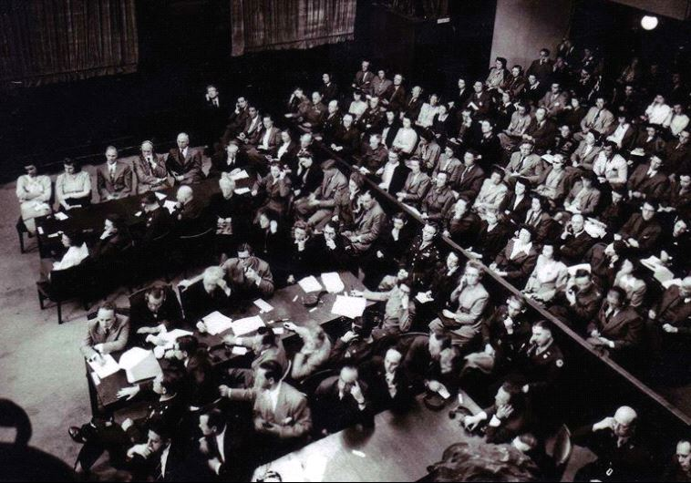 Courtroom scene at one of the Nuremberg trials of 1947.