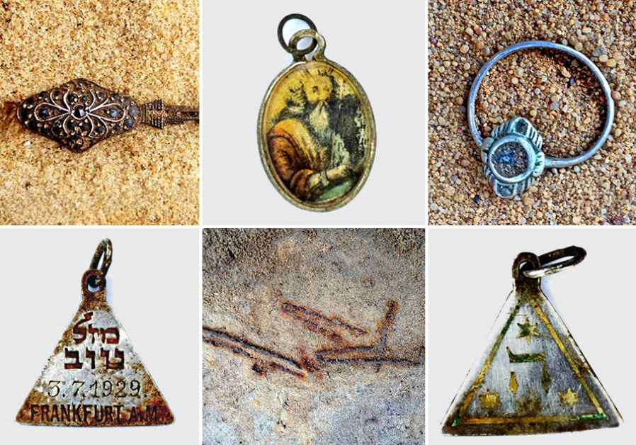 Jewellery unearthed by archaeologists at Sobibor that was likely removed by Nazi gas chamber victims (Yoram Haimi/IAA)