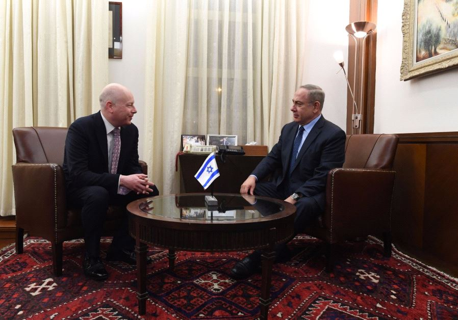 Jason Greenblatt (L) and Benjamin Netanyahu (R) (KOBI GIDEON/GPO)