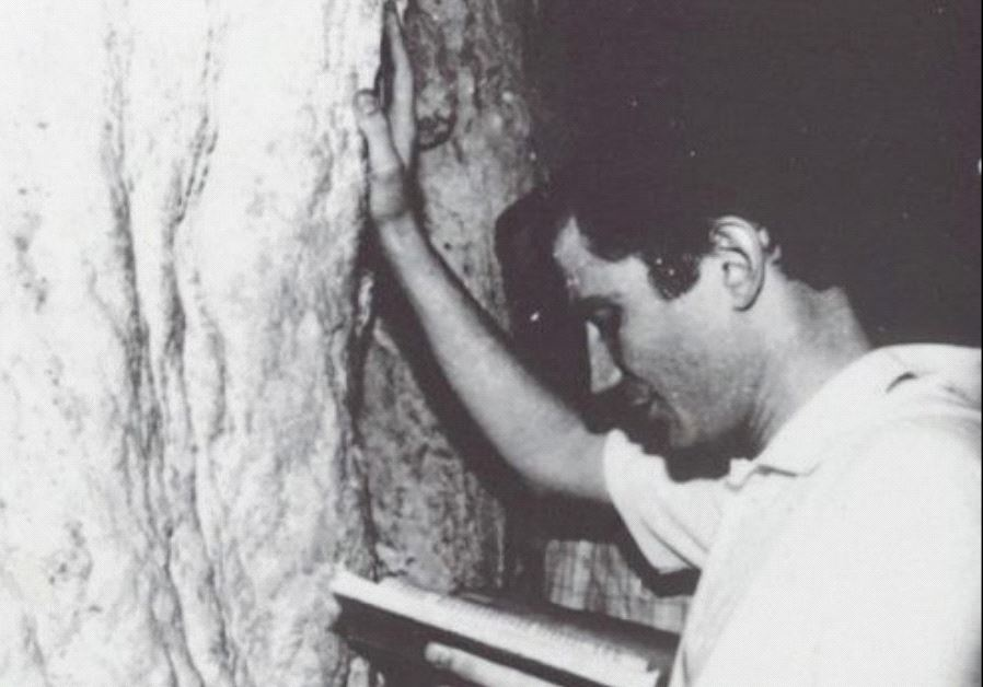 Yuli Edelstein prays at the Western Wall after his release from the Russian gulag in 1987 (KNESSET SPEAKER YULI EDELSTEIN'S OFFICE)