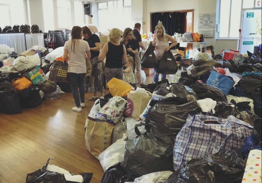 Collections underway at Borehamwood Synagogue, London following Wednesday's deadly fire (Courtesy)