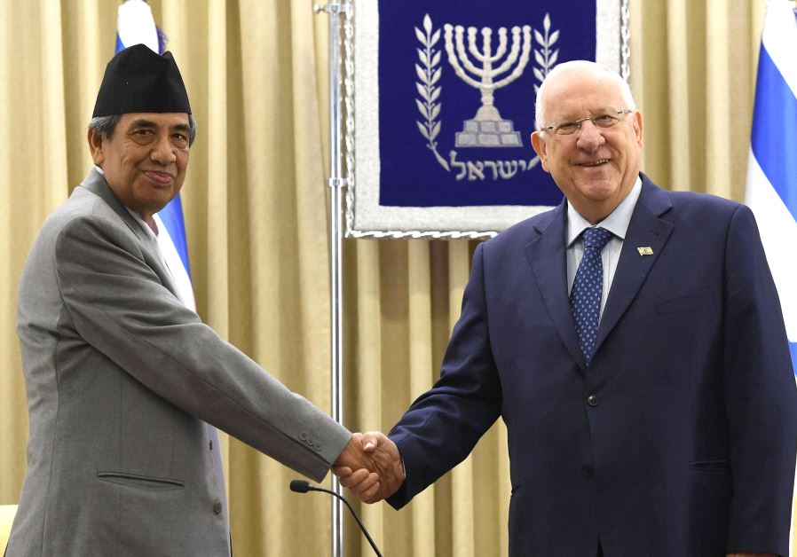 President Reuven Rivlin accepts the credentials of Nepal's new ambassador to Israel, June 15 2017. (MARK NEYMAN/GPO)