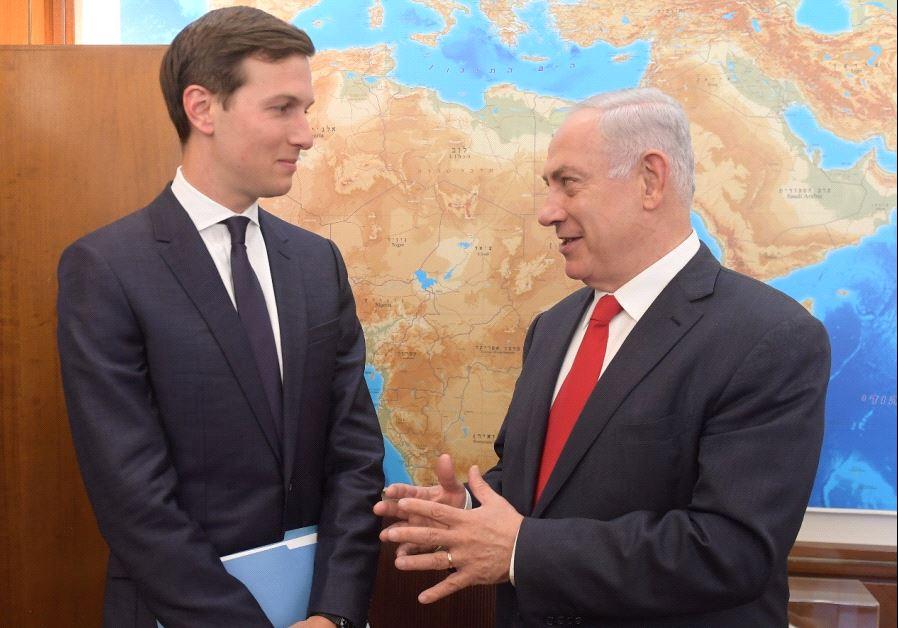 Jared Kushner meets Prime Minister Benjamin Netanyahu, June 21 2017. (AMOS BEN GERSHOM, GPO)