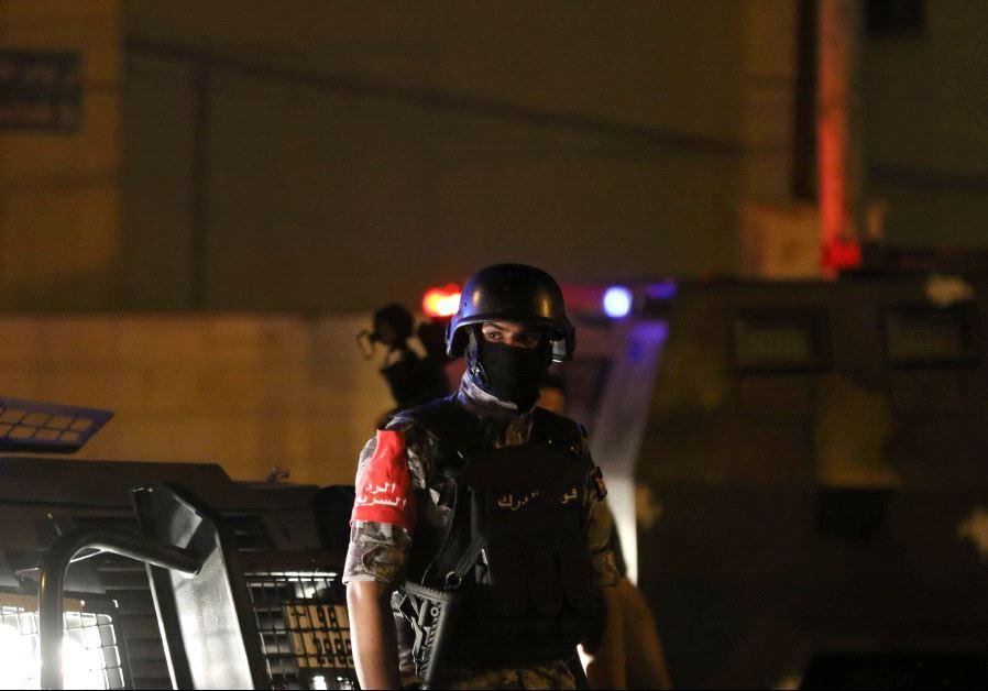 A policeman is seen near the Israeli embassy in Amman, Jordan July 23, 2017. (Reuters)