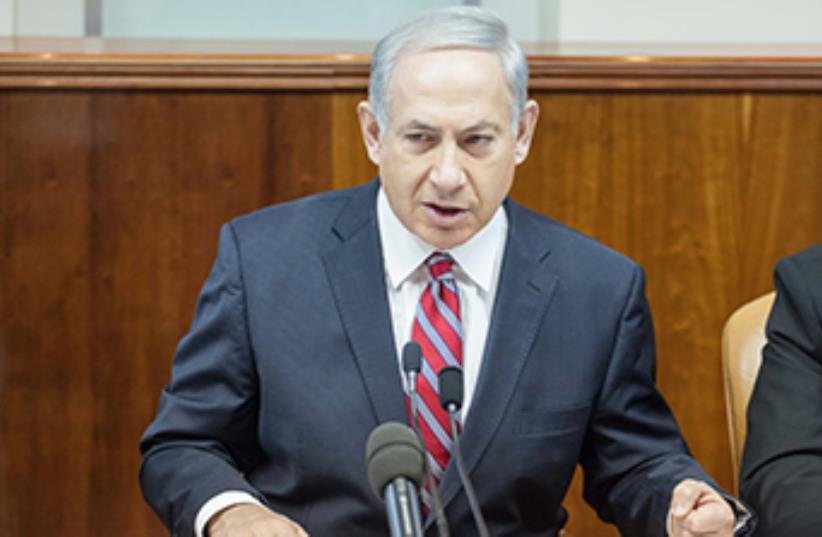 PM Netanyahu speaks at weekly cabinet meeting  (photo credit: EMIL SALMAN/POOL)