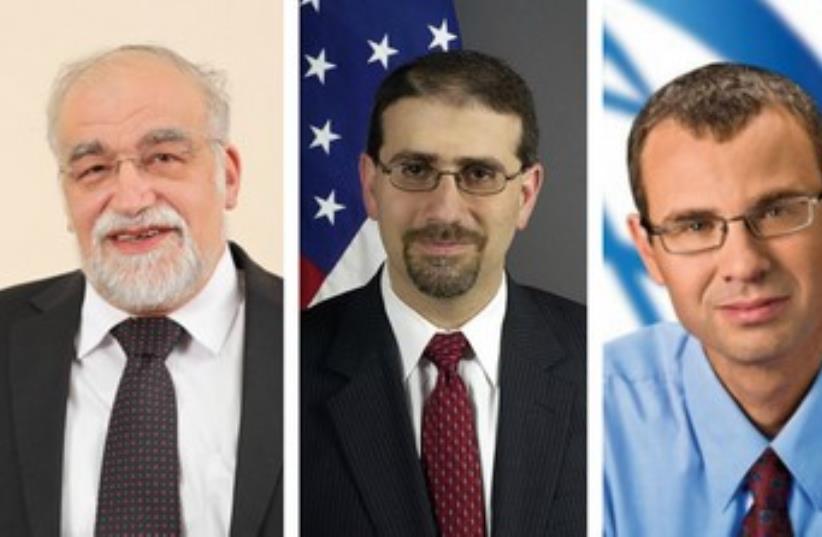 Yisrael Beytenu MK David Rotem (L), US ambassador Dan Shapiro, and Likud MK Yariv Levin (photo credit: Wikimedia Commons,COURTESY US EMBASSY TEL AVIV)