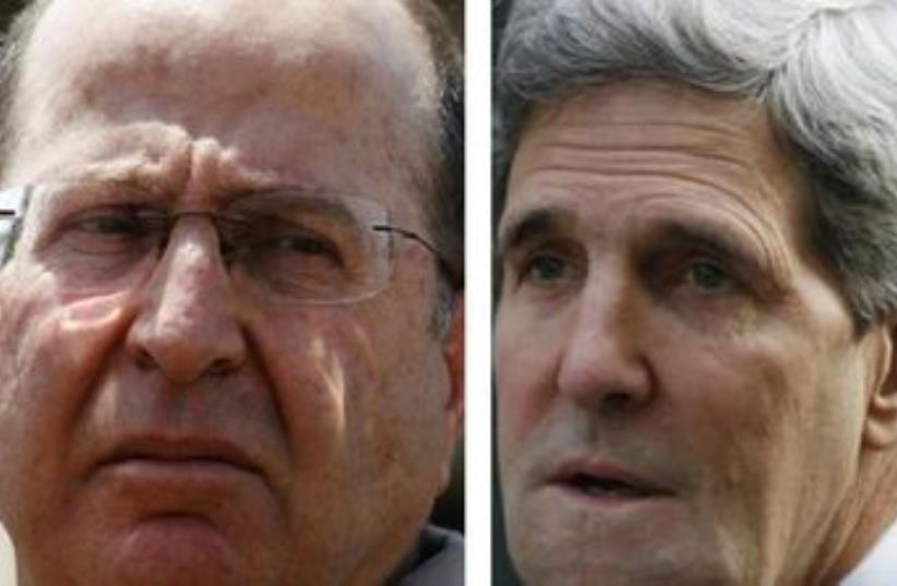 US Secretary of State John Kerry (R) and Defense Minister Moshe Ya'alon (photo credit: REUTERS)