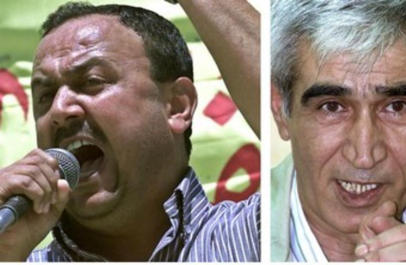 Jailed Tanzim leader Marwan Barghouti (L) and PFLP chief Ahmed Sa'adat (photo credit: REUTERS)
