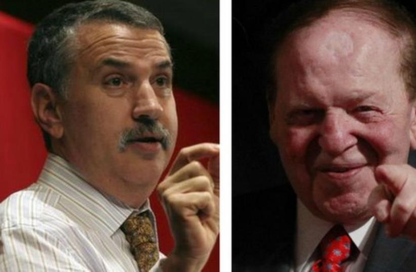 New York Times columnist Thomas Friedman (L) and US casino magnate Sheldon Adelson. (photo credit: REUTERS)