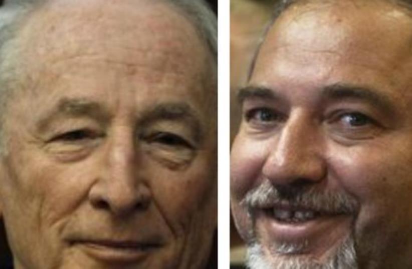 Attorney-General Yehuda Weinstein (L) and FM Avigdor Liberman370 (photo credit: REUTERS)