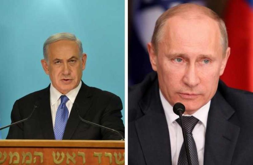 Prime Minister Benjamin Netanyahu and Russian President Vladimir Putin (photo credit: KOBY GIDEON/GPO,MARC ISRAEL SELLEM/THE JERUSALEM POST)