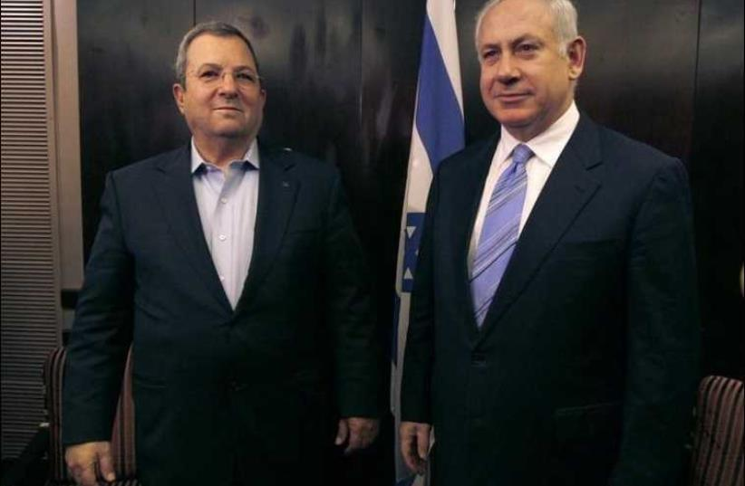 Former prime minister Ehud Barak and Prime Minister Benjamin Netanyahu [File] (photo credit: REUTERS)