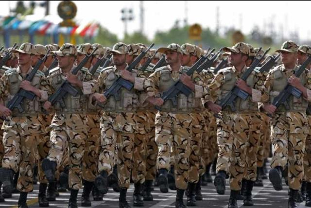 Iranian soldiers take part in a military procession in Tehran (photo credit: Courtesy)