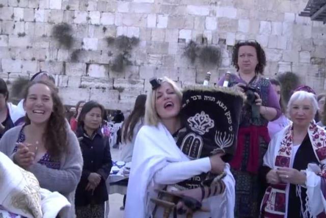 Women of the Wall at the Kotel (photo credit: screenshot)