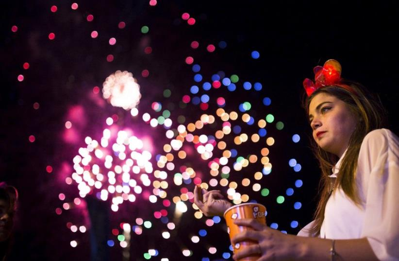 Girl celebrates Independence Day in Ashkelon, April 22, 2015 (photo credit: REUTERS)