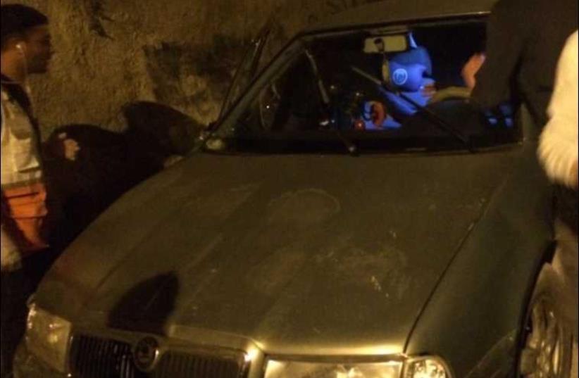 Car used in suspected terror attack in Jerusalem (photo credit: PALESTINIAN MEDIA)