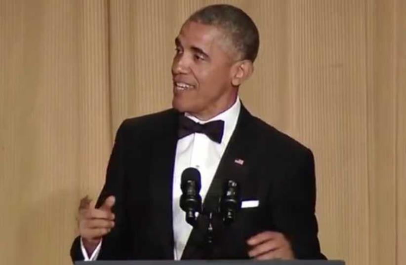 President Obama at White House Correspondents' dinner (photo credit: screenshot)