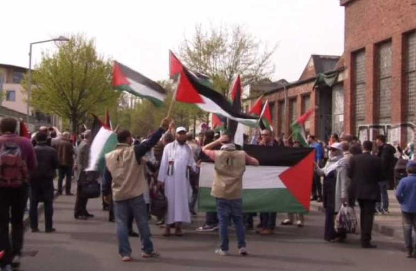 Palestinian conference in Berlin draws anti-Hamas protest. (photo credit: screenshot)