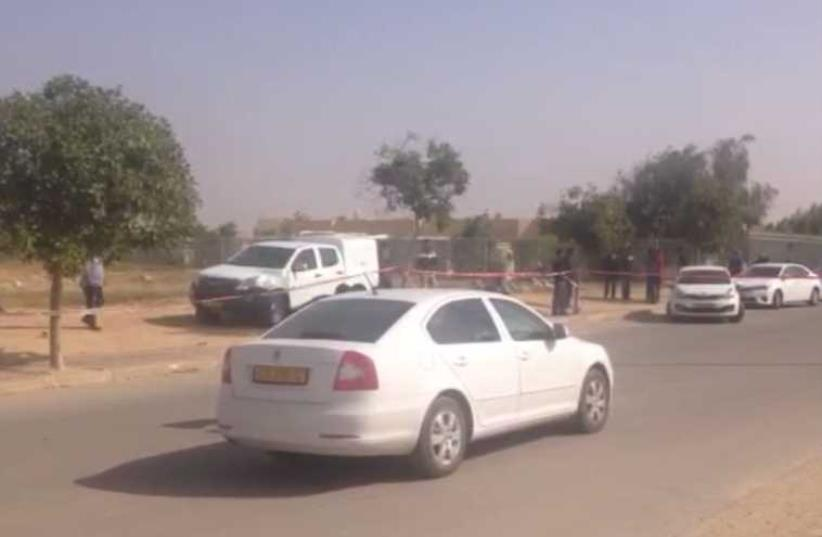The scene of the shooting in Kuseife (photo credit: ISRAEL POLICE)