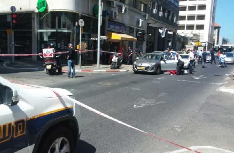 Scene of shooting in Haifa (photo credit: HATZALAH UNITED CARMEL)