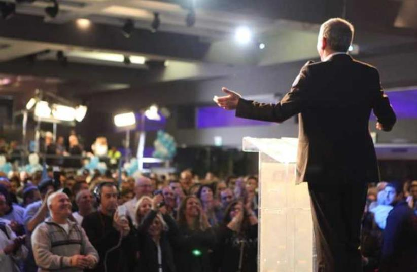 Incoming foreign minister Moshe Kahlon addresses supporters during a campaign rally (photo credit: FACEBOOK)