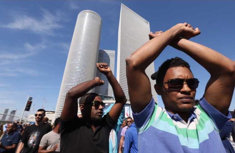 Ethiopian - Israeli protest against racism, police brutality in Tel Aviv. (photo credit: MARC ISRAEL SELLEM/THE JERUSALEM POST)