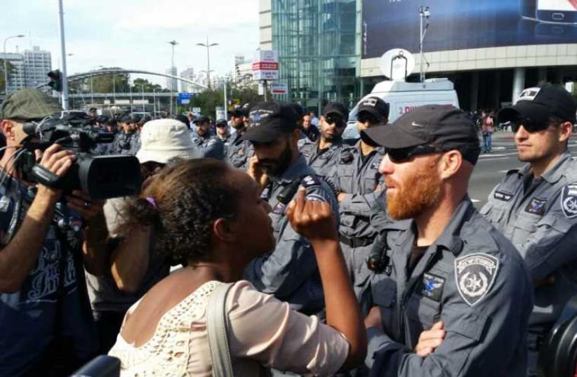 Ethiopian - Israel protest in Tel Aviv (photo credit: BEN HARTMAN)