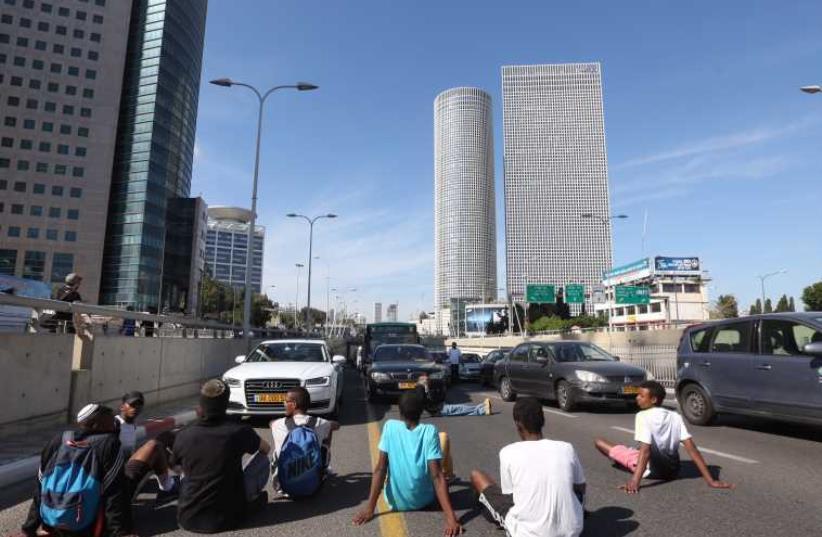 Ethiopian - Israel protest in Tel Aviv (photo credit: MARC ISRAEL SELLEM/THE JERUSALEM POST)