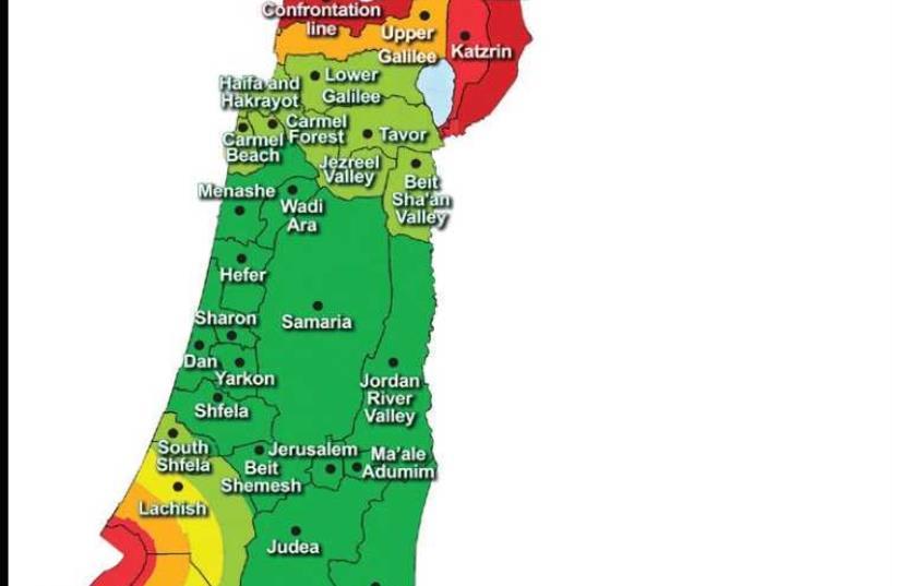 The updated rocket alert map  (photo credit: IDF SPOKESPERSON'S UNIT)