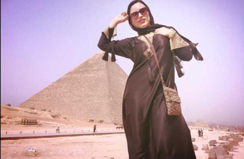 Adult film star Carmen De Luz in front of pyramid in Giza (photo credit: FACEBOOK)