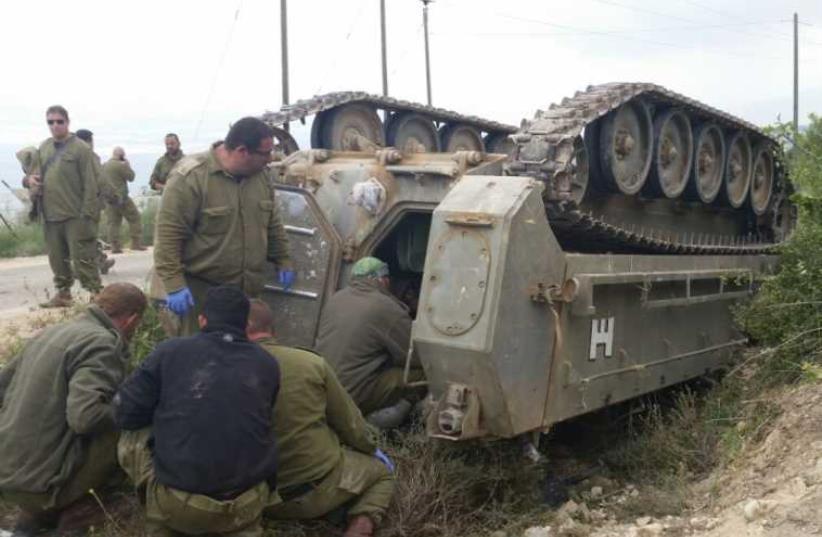IDF Armored vehicle accident in Golan Heights (photo credit: ITAMAR EDRI)