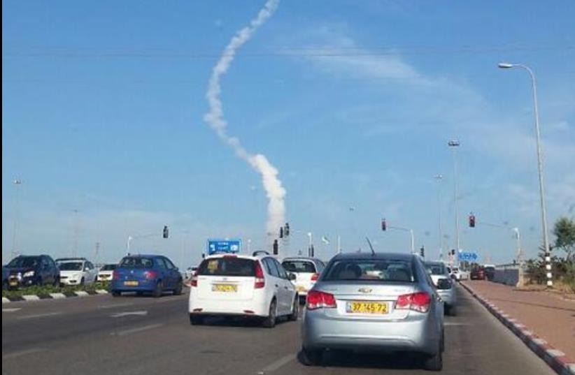 Ballistics tests over Tel Aviv (photo credit: TWITTER/ JOSHUA DAVIDOVICH)