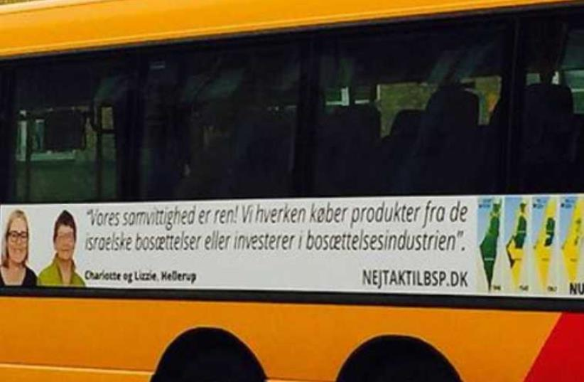 Danish bus ads targeting products from Israeli settlements. (photo credit: FACEBOOK)