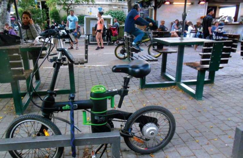 Electric bike in Tel-Aviv (photo credit: ARIEL COHEN)