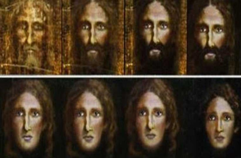 Detectives used a computer program to reverse the ageing process on an image from the Turin Shroud  (photo credit: ROME POLICE)