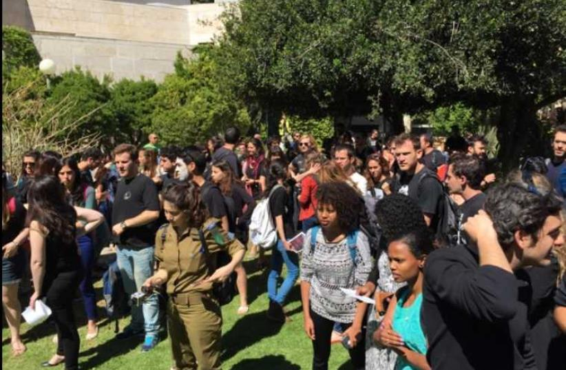 Hebrew University students protest racism and discrimination at Mt. Scopus campus (photo credit: ODED BAHAR)