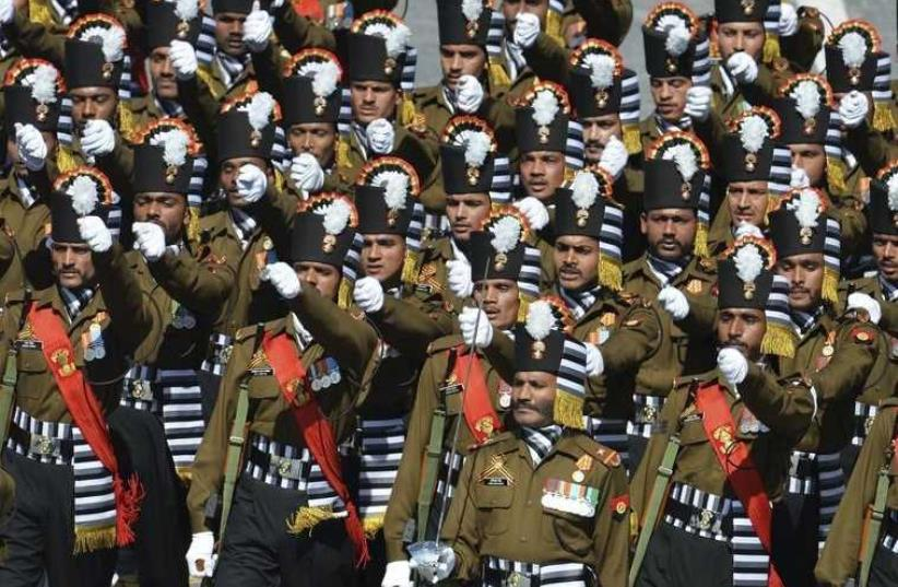 Indian Army servicemen march during the Victory Day parade at Red Square in Moscow