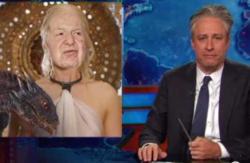 Jon stewart mocks Sheldon Adelson (photo credit: screenshot)